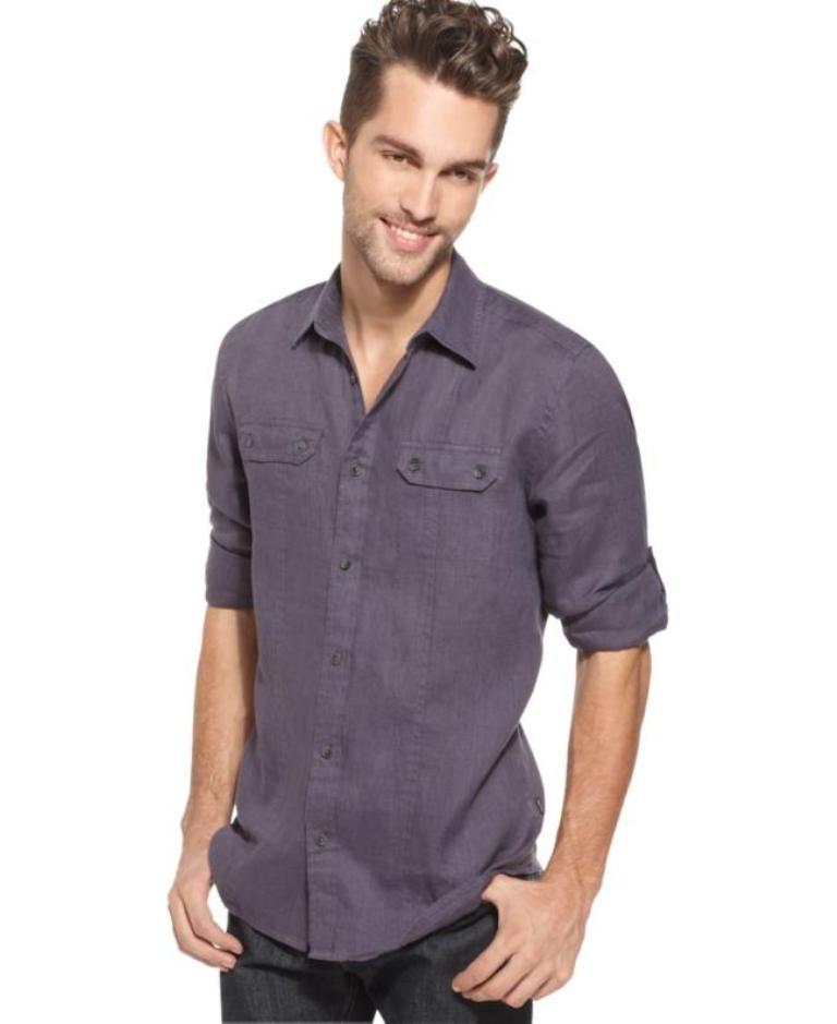 Calvin Klein Shirt Linen Kentucky Blue Mens Apparel Shirts